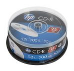 HP CD-R lemez, 700MB, 52x, 25 db, hengeren, HP