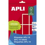 APLI Etikett, 25x40 mm, kézzel írható, színes, kerekített sarkú, APLI, piros, 128 etikett/csomag