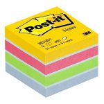3M POSTIT Öntapadó jegyzettömb, 51x51 mm, 400 lap, bliszteres, 3M POSTIT, ultra színek